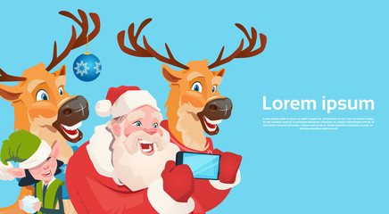Santa Claus With Reindeer Elfs Making Selfie Photo, New Year Christmas Holiday Greeting Card Flat Vector Illustration