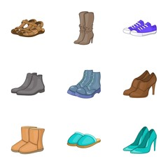 Foot protection icons set. Cartoon illustration of 9 foot protection vector icons for web