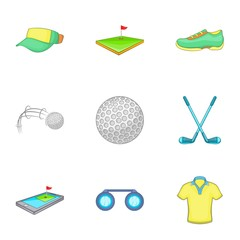 Game of golf icons set. Cartoon illustration of 9 game of golf vector icons for web