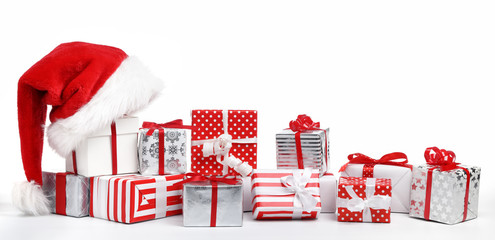 Gift boxes with Santa Claus hat