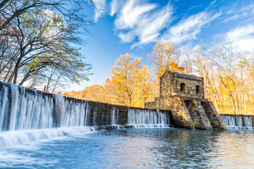 Aluminium Prints Dam Speedwell dam waterfall, on Whippany river, along Patriots path, in Morristown, New Jersey