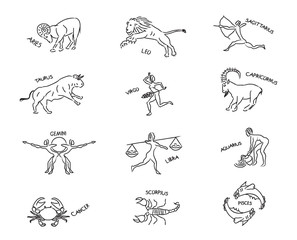 Set astrological sign of zodiacal constellations in the form of petroglyphs and cave paintings, drawings on the rocks, isolated object