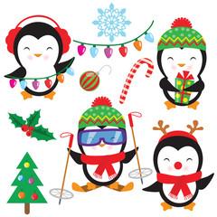 Cute little penguin vector cartoon illustration