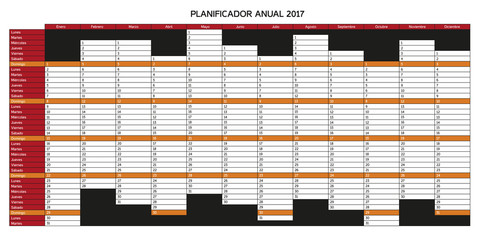Year planning calendar for 2017 in Spanish - Planificador anual 2017; Sundays are highlighted, rest of days is white