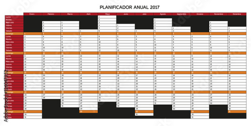 Rest Of Year Calendar : Quot year planning calendar for in spanish planificador
