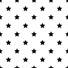 Seamless pattern with black stars on white background.