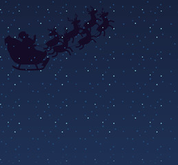 Santa Claus silhouette with deer. Copyspace for text. Vector illustration isolated on white, background