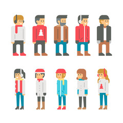 Flat design winter people
