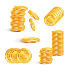 Stack of gold coins with euro signs. Business concept.