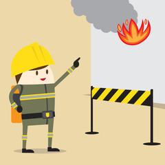 fireman kid. firefighter profession. Vector illustration