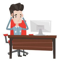 Stressful employee sitting at workplace.