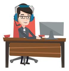 Man playing computer game vector illustration.