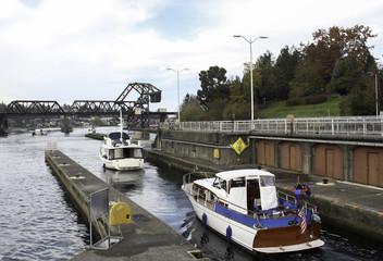 Boats leave the Ballard Locks