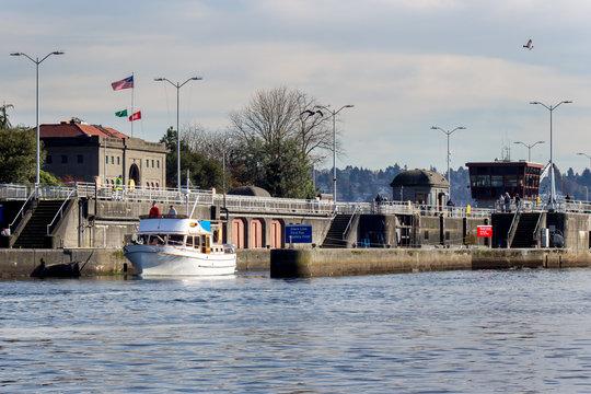 Boat Leaves Hiram Chitteden Locks Seattle Washington