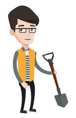 Farmer with shovel vector illustration.