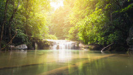 Beautiful waterfall with sunlight, Nature landscape at Thailand...