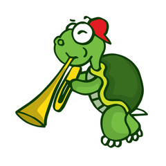 Turtle with trumpet funny cartoon