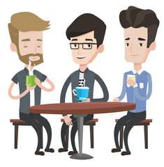 Group of men friends drinking in cafe.