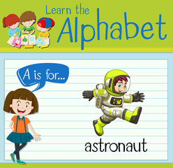 Flashcard letter A is for astronaut