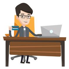 Man shopping online vector illustration.