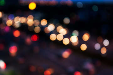 City and traffic light bokeh abstract Blur Background view from above.