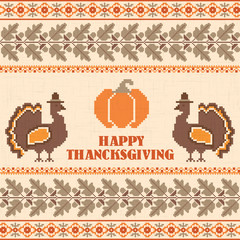 Happy Thanksgiving embroidered retro background