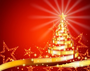 Golden Film Strip Christmas Tree