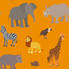 Seamless pattern with cartoon african animals.