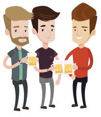 Group of friends enjoying beer at pub.
