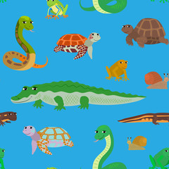 Seamless pattern with cartoon sea animals.