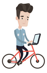 Man riding bicycle with laptop vector illustration