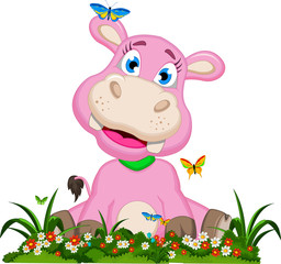 funny hippo cartoon with flower garden