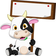cute cow cartoon holding blank sign