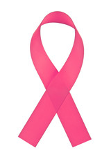 Pink ribbon breast cancer, ribbon isolated on white background
