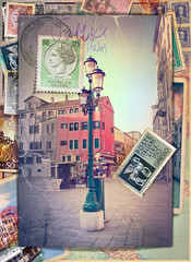 Holidays in Italy vintage postcard and vintage stamps