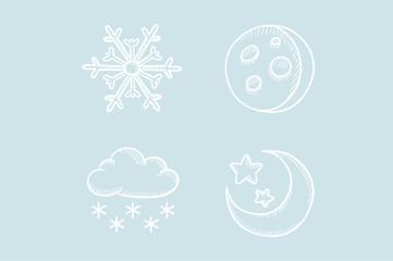 Weather vector sketch icon set.
