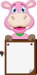 funny hippo cartoon holding blank sign