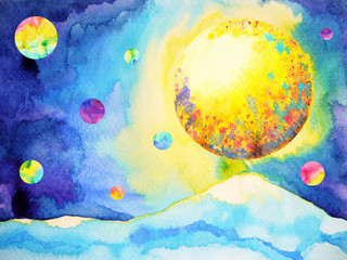 big yellow full moon flower floral pattern texture and blue mountain watercolor painting