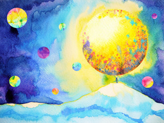 small man hands up catching, reaching big moon, watercolor painting