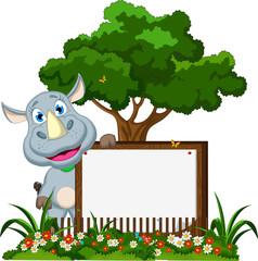 cute rhino cartoon with blank sign in flower garden