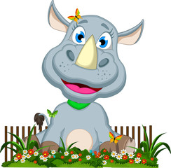 funny rhino cartoon with flower background