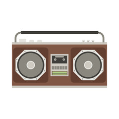 Retro tape recorder vector illustration. Vintage cassete record player isolated on white.