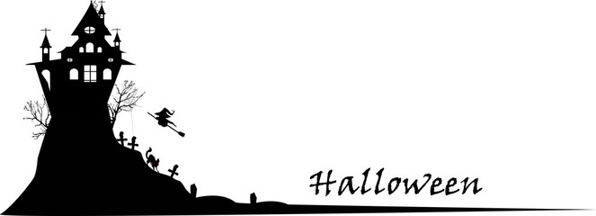 silhouette Spooky castle Halloween on white background