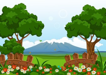 beauty summer with flower garden landscape background