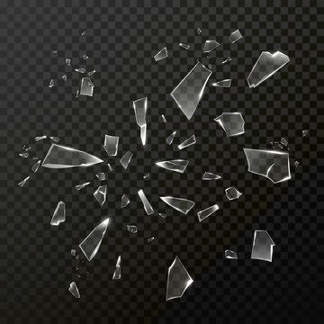 Broken shattered glass debris. Vector transparent