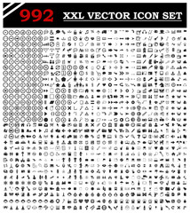 Set of 992 various icons symbols and design elements