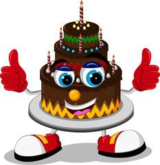 Big cartoon birthday cake thumb up
