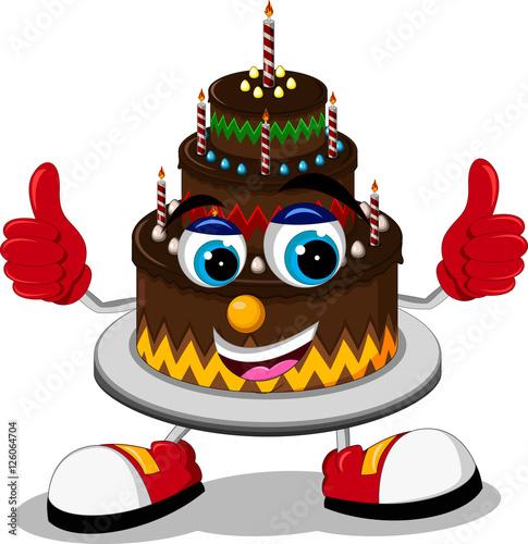 Big Cartoon Birthday Cake Thumb Up Stock Photo And Royalty Free