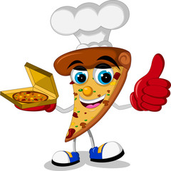 chef Pizza slice cartoon thumb up
