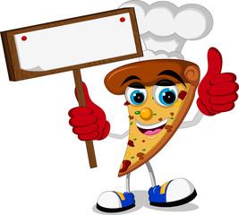 chef Pizza slice cartoon thumb up holding blank sign